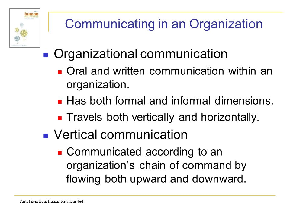 Parts taken from Human Relations 4ed Horizontal communication - Messages that are communicated between the speaker and his/her equals in a formal organization.