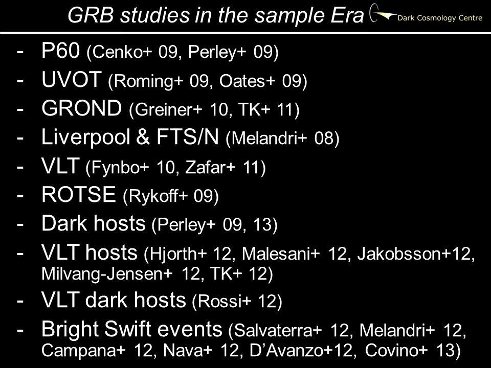 GRB studies in the sample Era -P60 (Cenko+ 09, Perley+ 09) -UVOT (Roming+ 09, Oates+ 09) -GROND (Greiner+ 10, TK+ 11) -Liverpool & FTS/N (Melandri+ 08) -VLT (Fynbo+ 10, Zafar+ 11) -ROTSE (Rykoff+ 09) -Dark hosts (Perley+ 09, 13) -VLT hosts (Hjorth+ 12, Malesani+ 12, Jakobsson+12, Milvang-Jensen+ 12, TK+ 12) -VLT dark hosts (Rossi+ 12) -Bright Swift events (Salvaterra+ 12, Melandri+ 12, Campana+ 12, Nava+ 12, D'Avanzo+12, Covino+ 13)