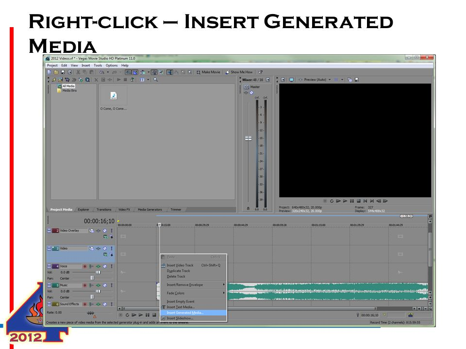 Right-click – Insert Generated Media
