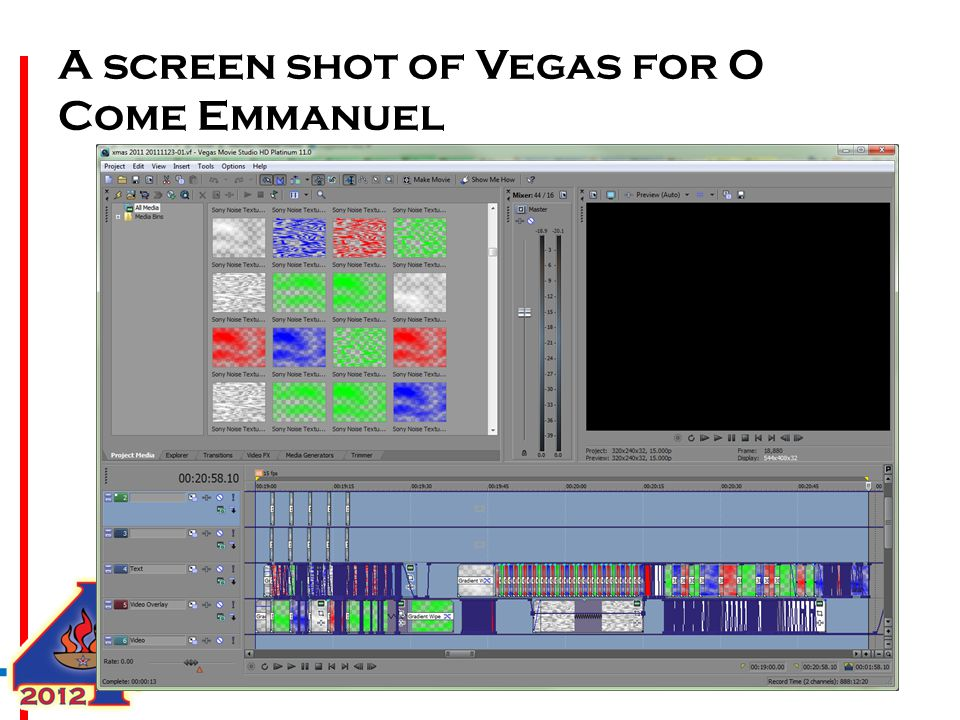 A screen shot of Vegas for O Come Emmanuel