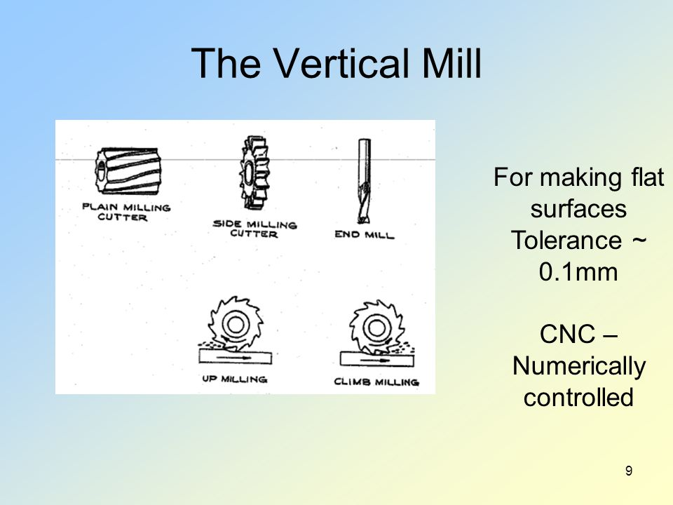 The Vertical Mill 9 For making flat surfaces Tolerance ~ 0.1mm CNC – Numerically controlled