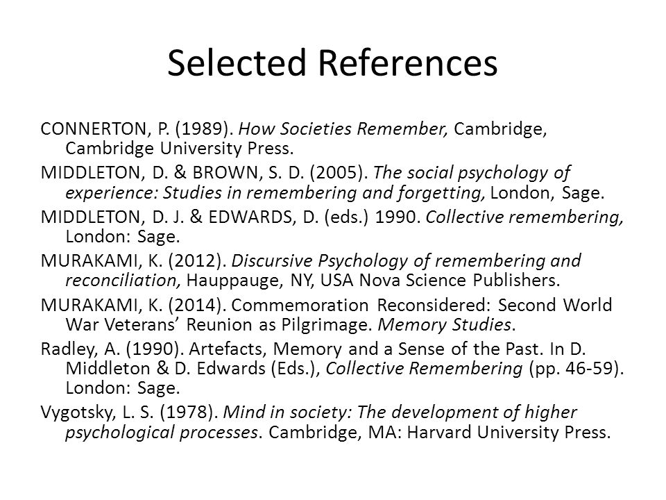 Selected References CONNERTON, P. (1989).