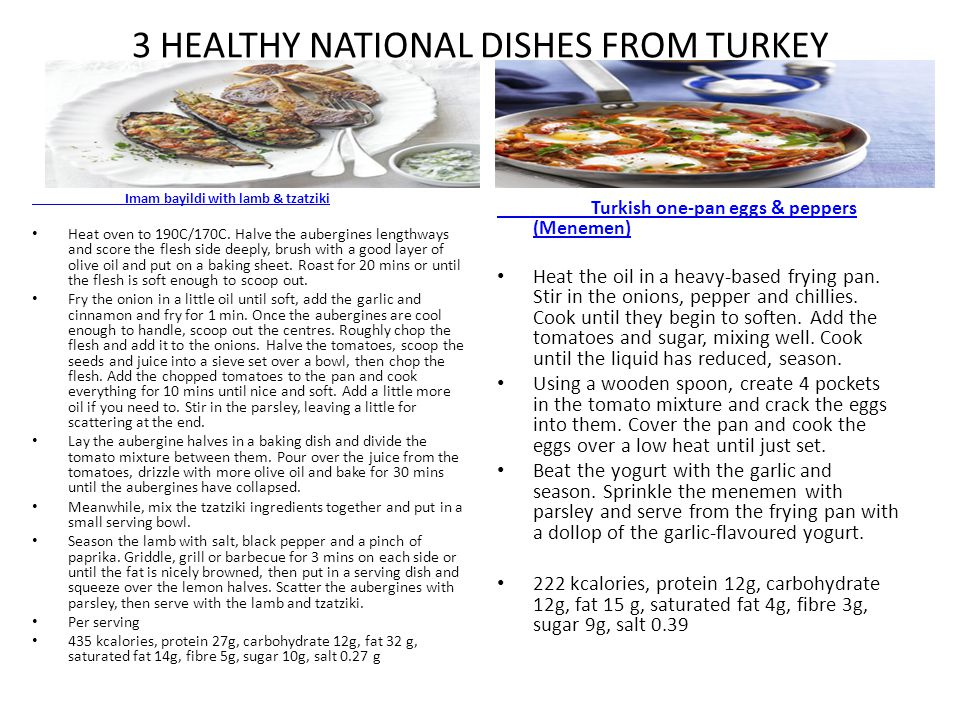 3 HEALTHY NATIONAL DISHES FROM TURKEY Imam bayildi with lamb & tzatziki Heat oven to 190C/170C. Halve the aubergines lengthways and score the flesh si