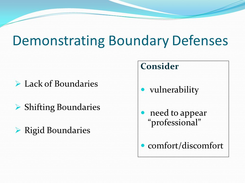 Demonstrating Boundary Defenses  Lack of Boundaries  Shifting Boundaries  Rigid Boundaries Consider vulnerability need to appear professional comfort/discomfort