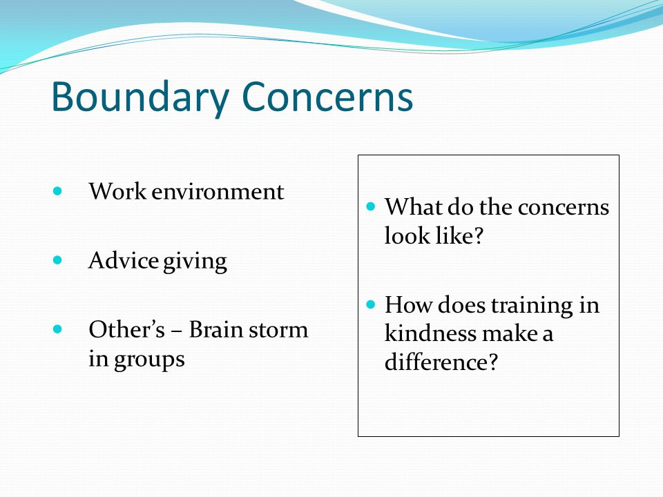 Boundary Concerns Work environment Advice giving Other's – Brain storm in groups What do the concerns look like? How does training in kindness make a