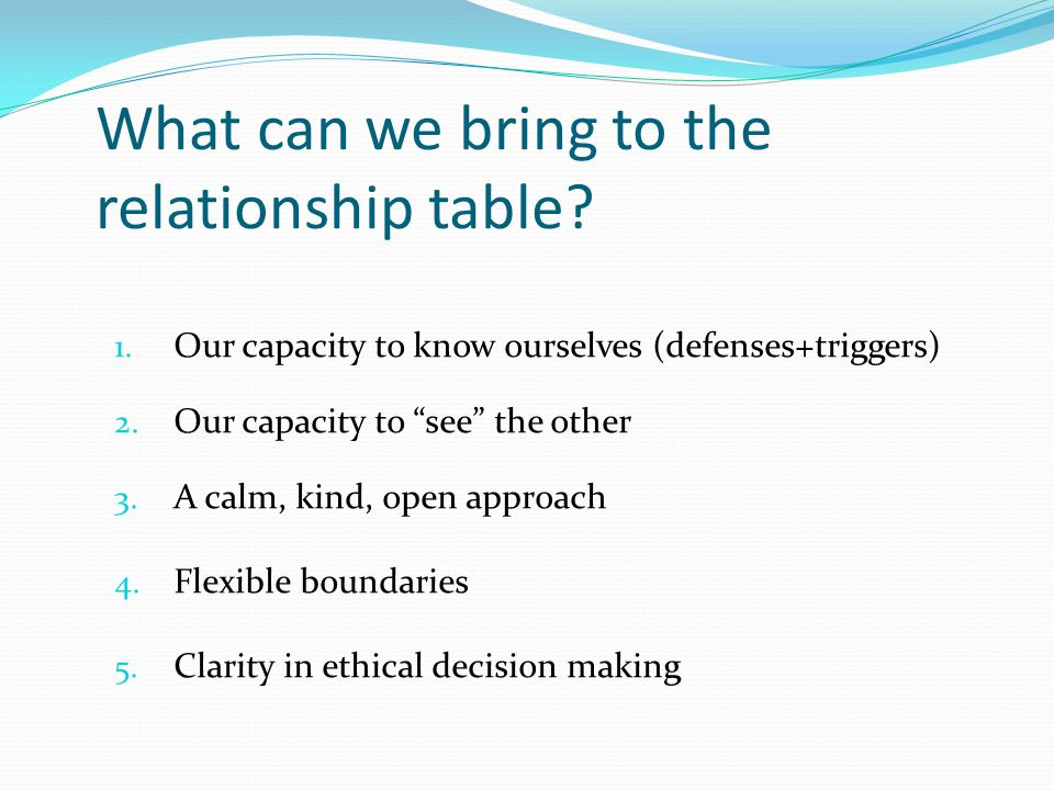"""What can we bring to the relationship table? 1. Our capacity to know ourselves (defenses+triggers) 2. Our capacity to """"see"""" the other 3. A calm, kind,"""