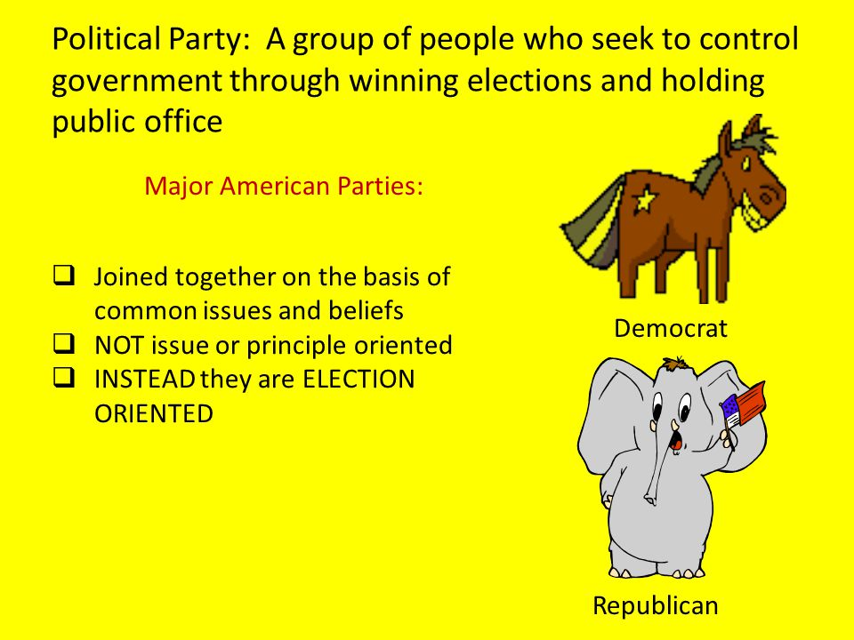 Political Party: A group of people who seek to control government through winning elections and holding public office Democrat Republican Major Americ
