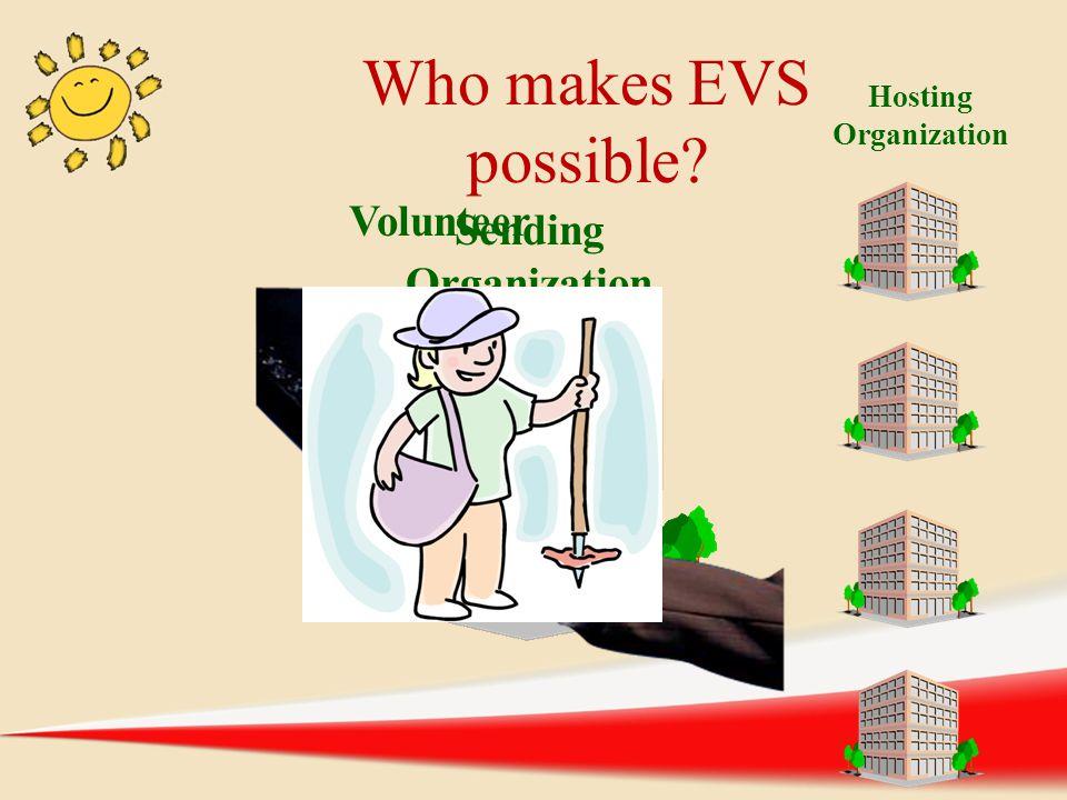 Hosting Organization Sending Organization Volunteer Who makes EVS possible?