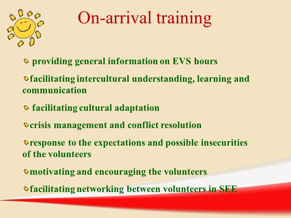 providing general information on EVS hours facilitating intercultural understanding, learning and communication facilitating cultural adaptation crisi