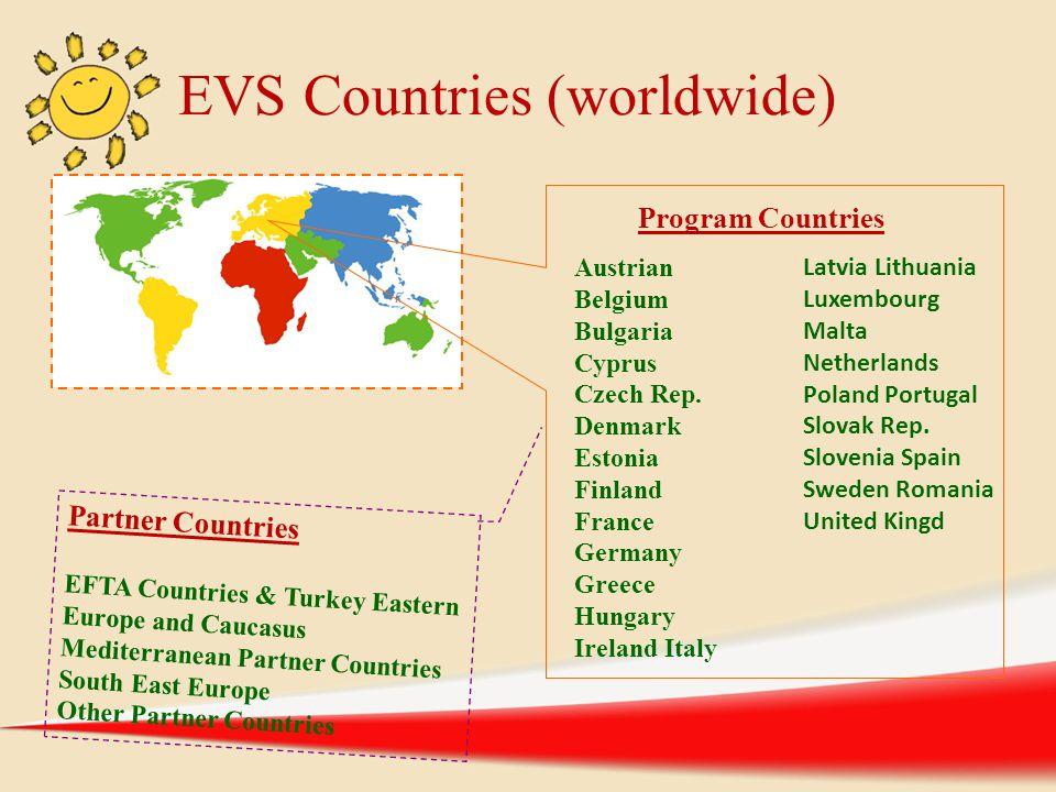 EVS Countries (worldwide) Austrian Belgium Bulgaria Cyprus Czech Rep. Denmark Estonia Finland France Germany Greece Hungary Ireland Italy Latvia Lithu