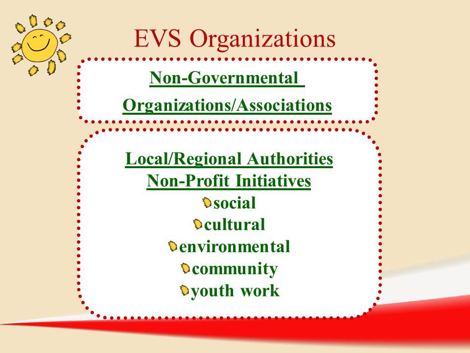 EVS Organizations Non-Governmental Organizations/Associations Local/Regional Authorities Non-Profit Initiatives social cultural environmental communit