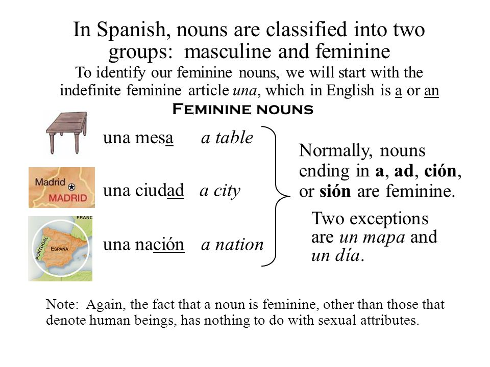 Feminine nouns To identify our feminine nouns, we will start with the indefinite feminine article una, which in English is a or an una mesaa table una nacióna nation una ciudada city Normally, nouns ending in a, ad, ción, or sión are feminine.