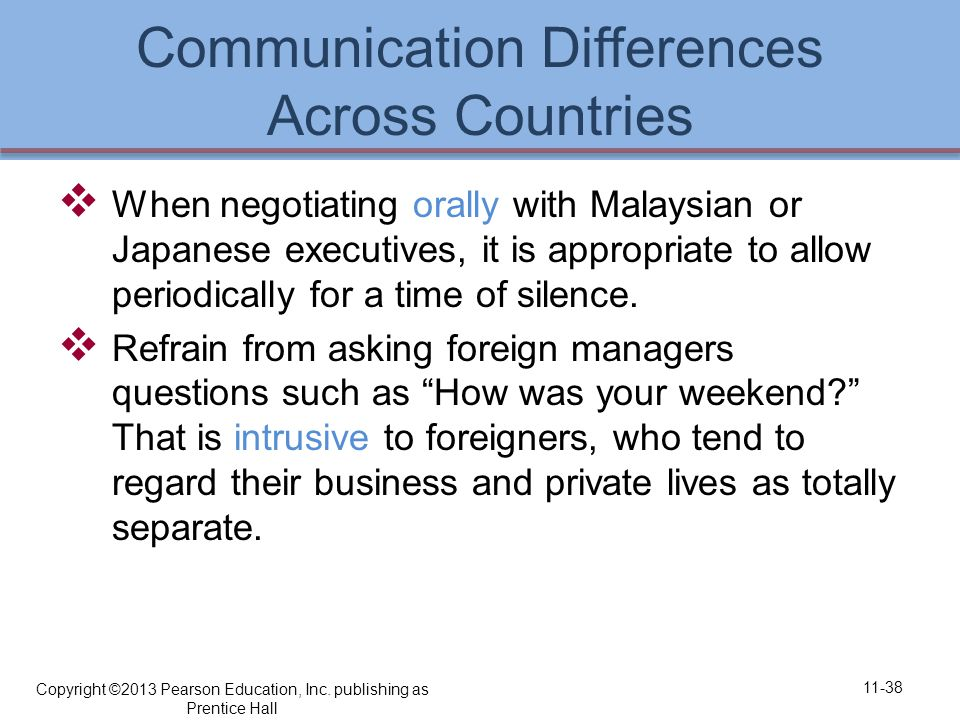 Communication Differences Across Countries  When negotiating orally with Malaysian or Japanese executives, it is appropriate to allow periodically for a time of silence.