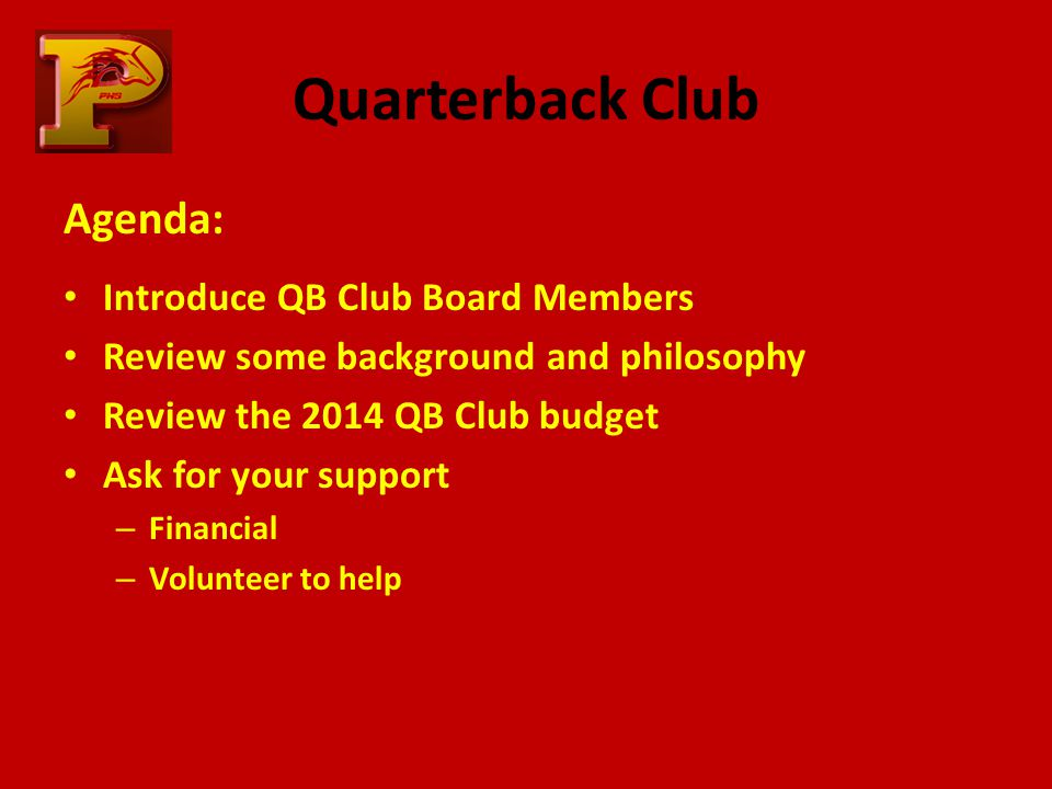 Quarterback Club Agenda: Introduce QB Club Board Members Review some background and philosophy Review the 2014 QB Club budget Ask for your support – Financial – Volunteer to help