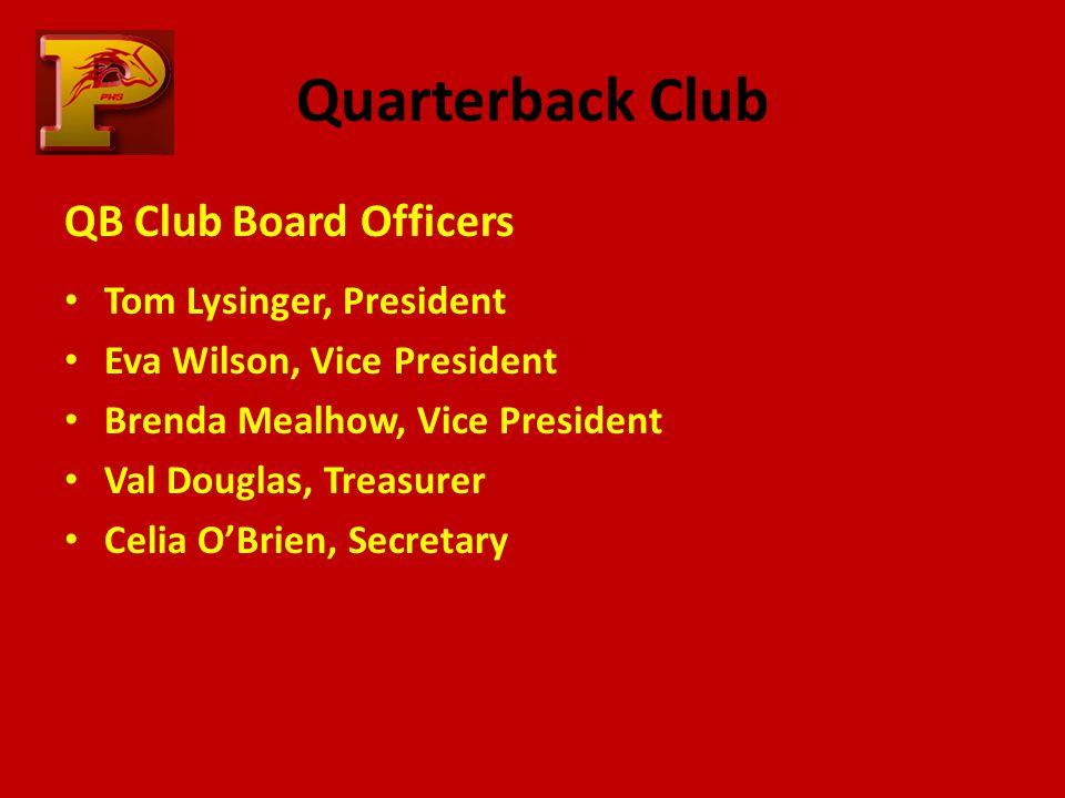 Quarterback Club QB Club Board Officers Tom Lysinger, President Eva Wilson, Vice President Brenda Mealhow, Vice President Val Douglas, Treasurer Celia