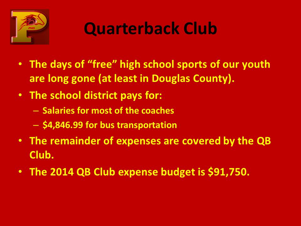 Quarterback Club The days of free high school sports of our youth are long gone (at least in Douglas County).