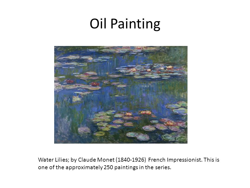 Oil Painting Water Lilies; by Claude Monet (1840-1926) French Impressionist.