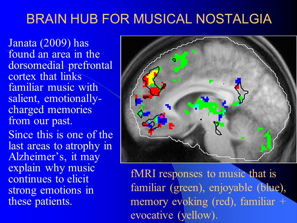BRAIN HUB FOR MUSICAL NOSTALGIA Janata (2009) has found an area in the dorsomedial prefrontal cortex that links familiar music with salient, emotional