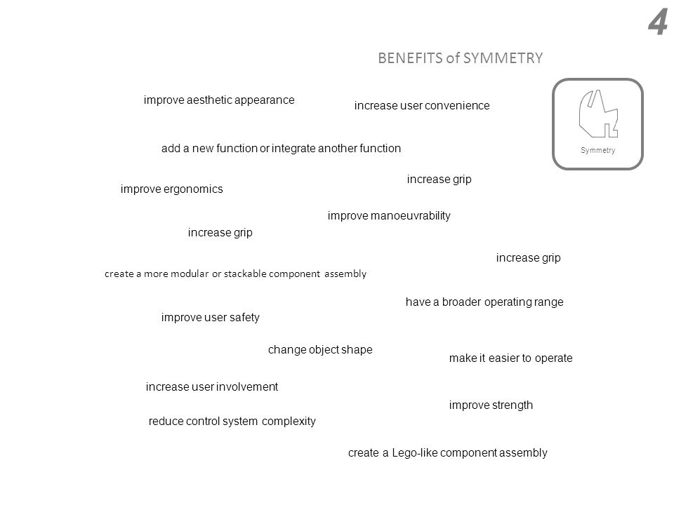 BENEFITS of SYMMETRY 4 create a more modular or stackable component assembly change object shape increase user convenience reduce control system complexity add a new function or integrate another function have a broader operating range improve user safety improve strength improve manoeuvrability improve ergonomics improve aesthetic appearance create a Lego-like component assembly make it easier to operate increase user involvement increase grip Symmetry
