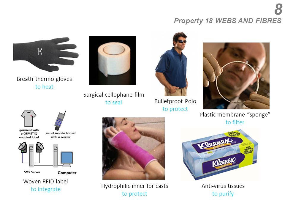 8 Property 18 WEBS AND FIBRES Breath thermo gloves to heat Plastic membrane sponge to filter Surgical cellophane film to seal Woven RFID label to integrate Hydrophilic inner for casts to protect Anti-virus tissues to purify Bulletproof Polo to protect