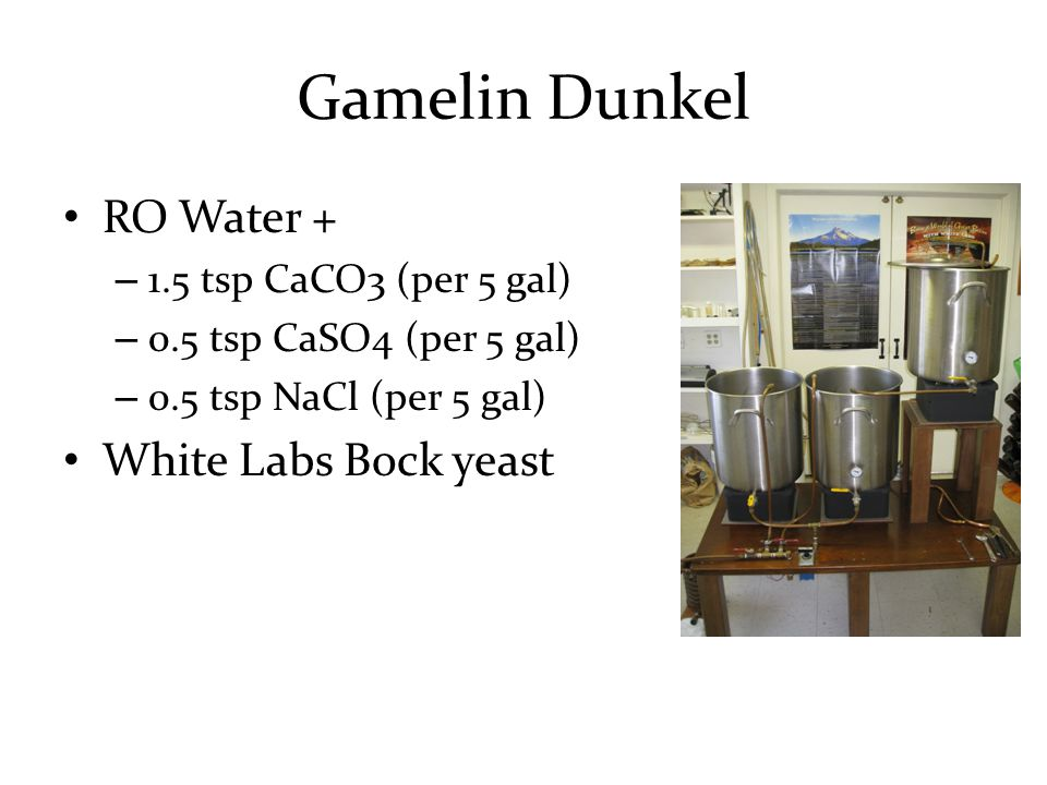 Gamelin Dunkel RO Water + – 1.5 tsp CaCO3 (per 5 gal) – 0.5 tsp CaSO4 (per 5 gal) – 0.5 tsp NaCl (per 5 gal) White Labs Bock yeast