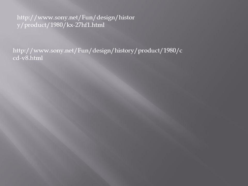 http://www.sony.net/Fun/design/histor y/product/1980/kx-27hf1.html http://www.sony.net/Fun/design/history/product/1980/c cd-v8.html