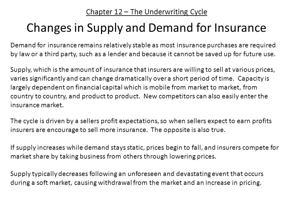 Chapter 12 – The Underwriting Cycle Changes in Supply and Demand for Insurance Demand for insurance remains relatively stable as most insurance purcha