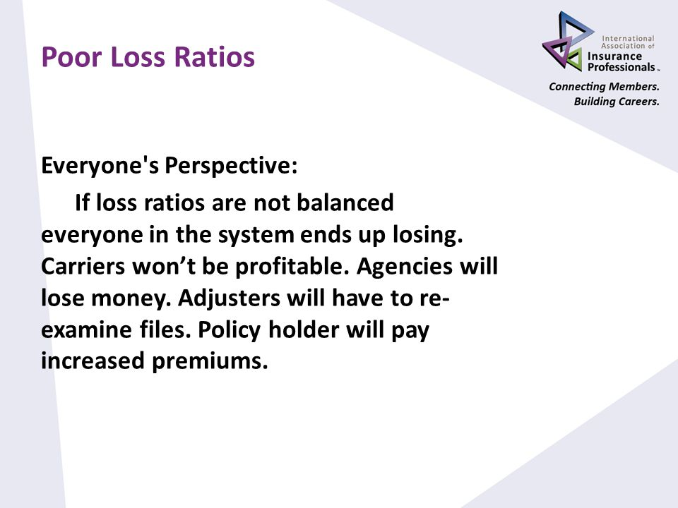 Poor Loss Ratios Everyone s Perspective: If loss ratios are not balanced everyone in the system ends up losing.