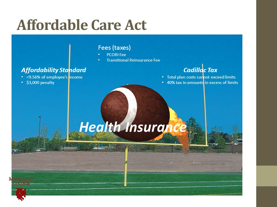 Affordable Care Act Affordability Standard <9.56% of employee's income $3,000 penalty Cadillac Tax Total plan costs cannot exceed limits 40% tax in amounts in excess of limits Health Insurance Fees (taxes) PCORI Fee Transitional Reinsurance Fee