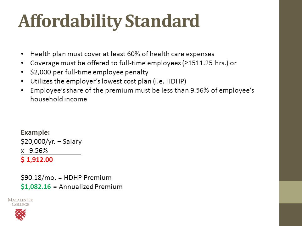Affordability Standard Health plan must cover at least 60% of health care expenses Coverage must be offered to full-time employees (≥1511.25 hrs.) or $2,000 per full-time employee penalty Utilizes the employer's lowest cost plan (i.e.