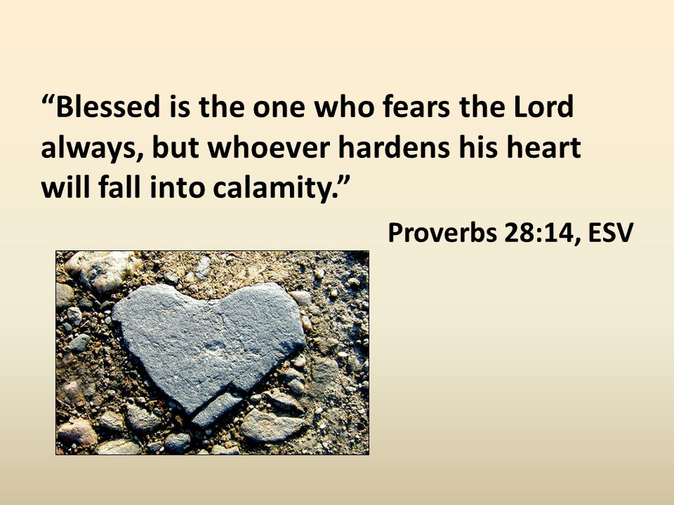 Blessed is the one who fears the Lord always, but whoever hardens his heart will fall into calamity. Proverbs 28:14, ESV