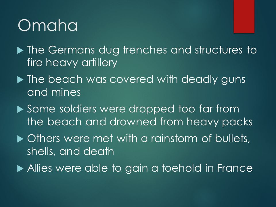 Omaha  The Germans dug trenches and structures to fire heavy artillery  The beach was covered with deadly guns and mines  Some soldiers were dropped too far from the beach and drowned from heavy packs  Others were met with a rainstorm of bullets, shells, and death  Allies were able to gain a toehold in France