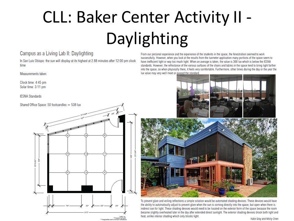 CHESC 2014 / Cal Poly, San Luis Obispo CLL: Baker Center Activity II - Daylighting