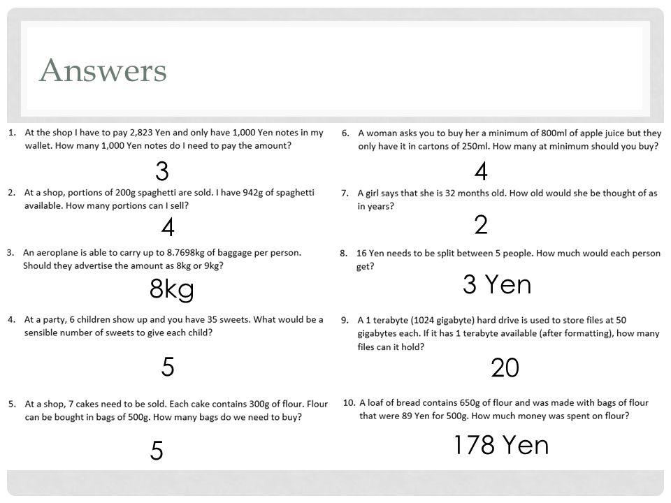 Answers 3 4 8kg 5 5 4 2 3 Yen 20 178 Yen