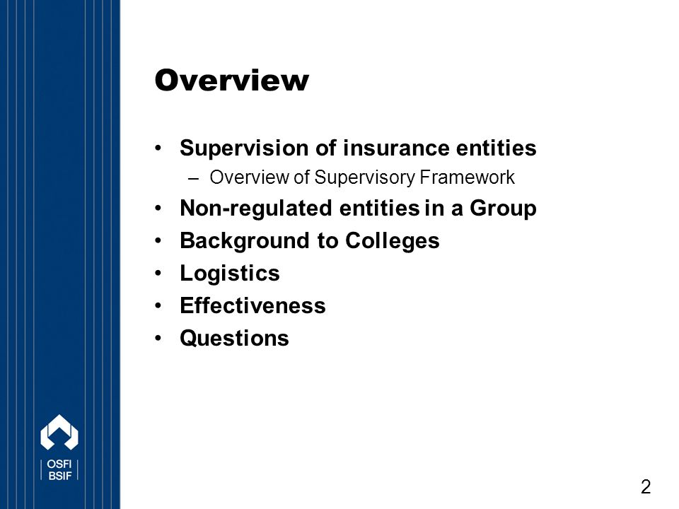 13 Background One life insurance conglomerate has a non-OSFI regulated entity The entity is regulated under a different law Operating under this structure since late 2000 under an Undertaking