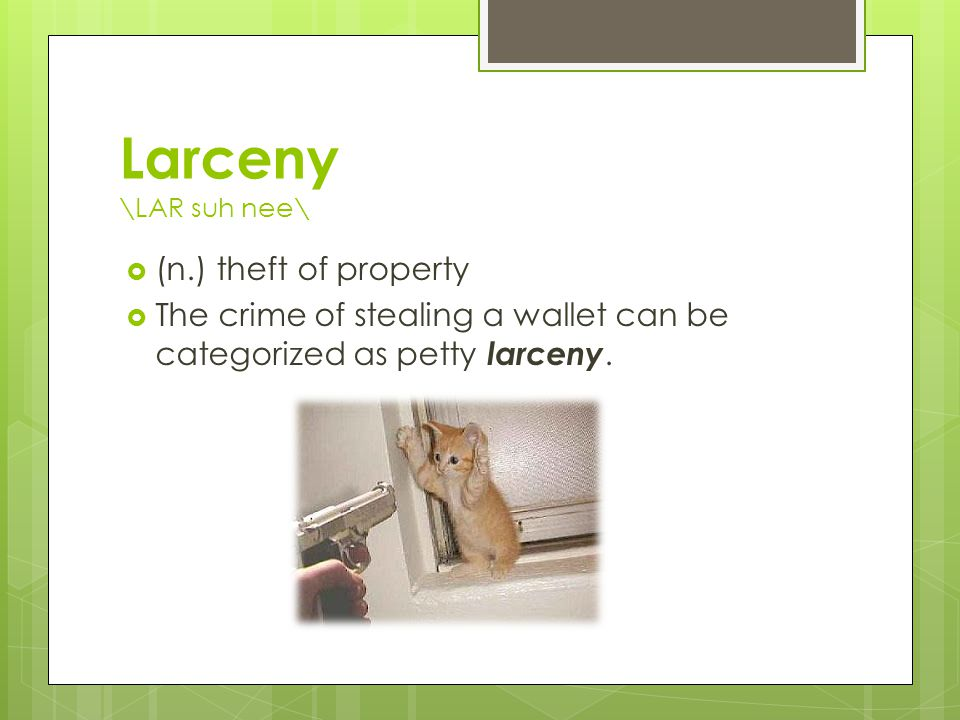 Larceny \LAR suh nee\  (n.) theft of property  The crime of stealing a wallet can be categorized as petty larceny.