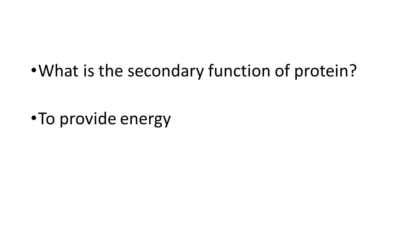 What is the secondary function of protein? To provide energy