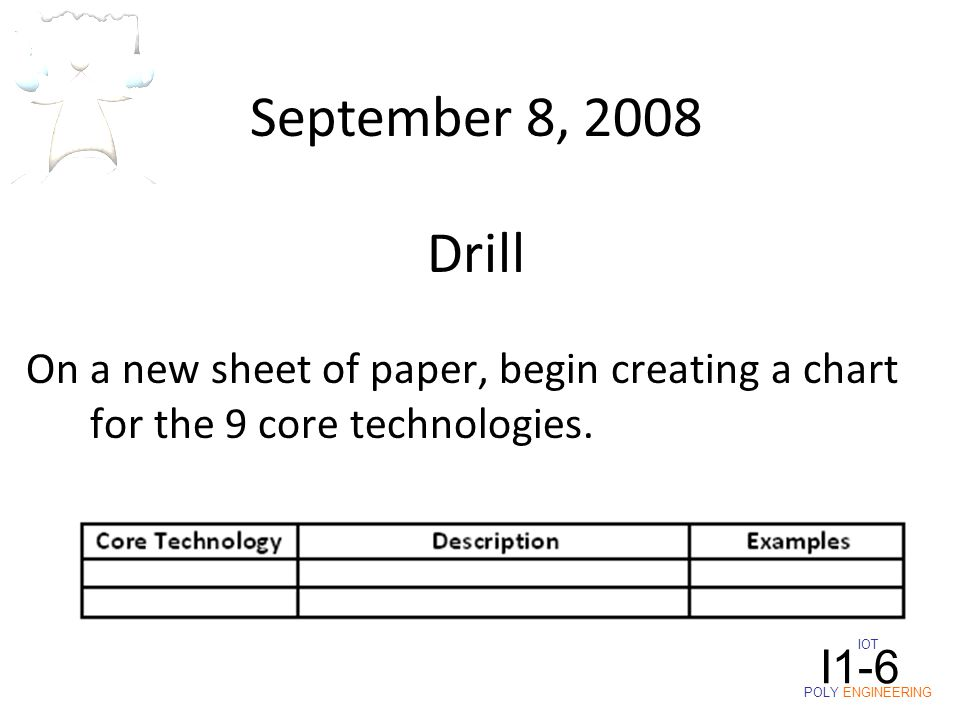 IOT POLY ENGINEERING I1-6 September 8, 2008 On a new sheet of paper, begin creating a chart for the 9 core technologies. Drill