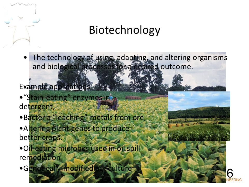 IOT POLY ENGINEERING I1-6 The technology of using, adapting, and altering organisms and biological processes for a desired outcome. Example applicatio
