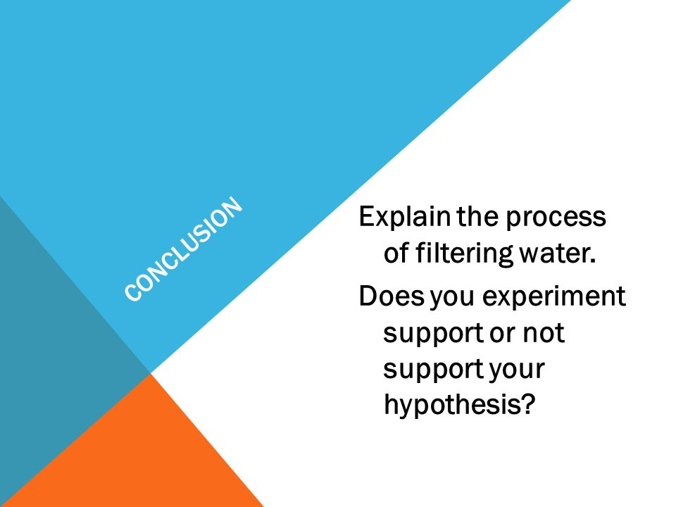 CONCLUSION Explain the process of filtering water.