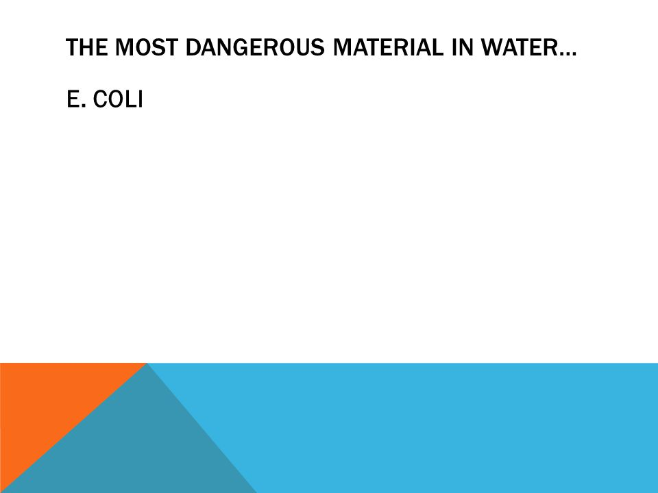 THE MOST DANGEROUS MATERIAL IN WATER… E. COLI