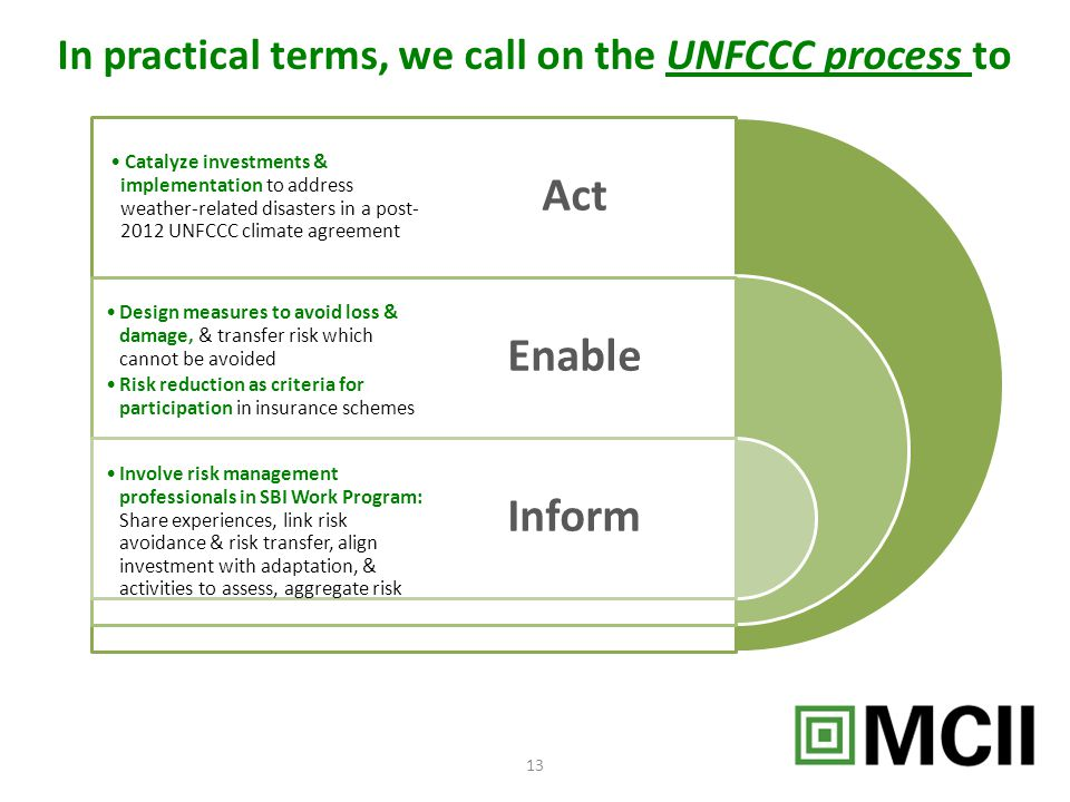 In practical terms, we call on the UNFCCC process to 13