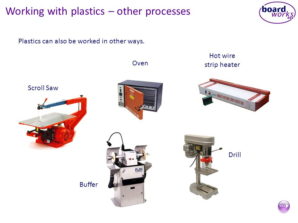 Working with plastics – other processes Plastics can also be worked in other ways.