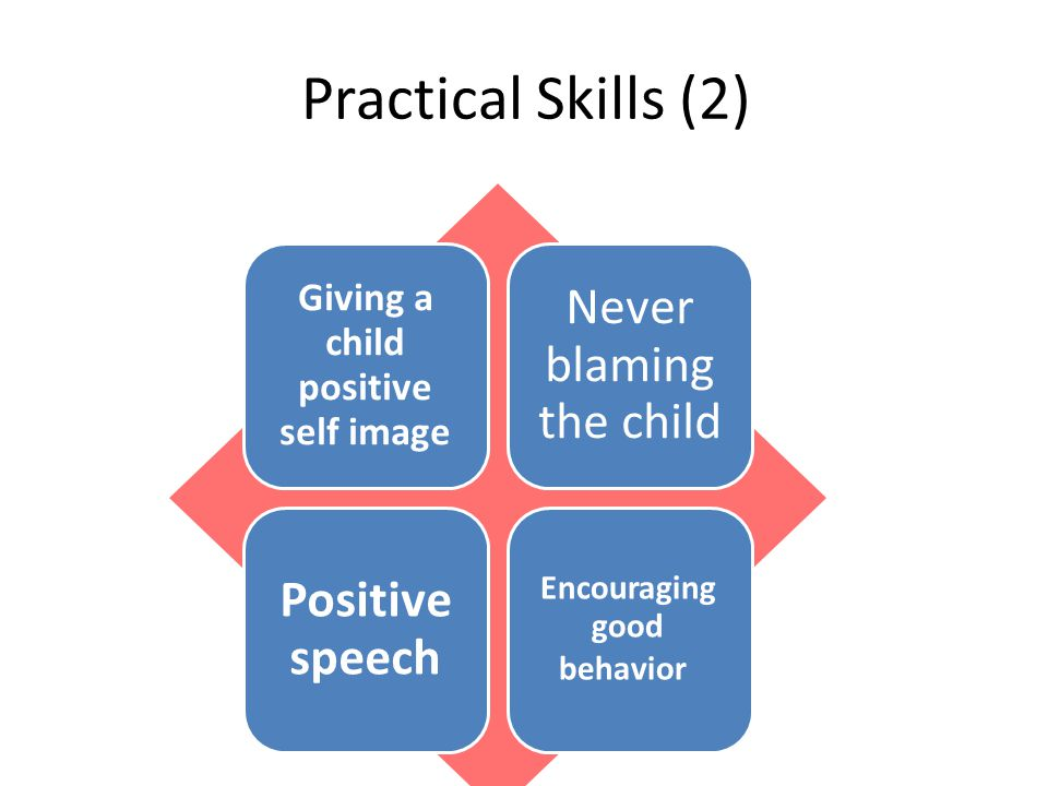 Practical Skills (2) Giving a child positive self image Never blaming the child Positive speech Encouraging good behavior