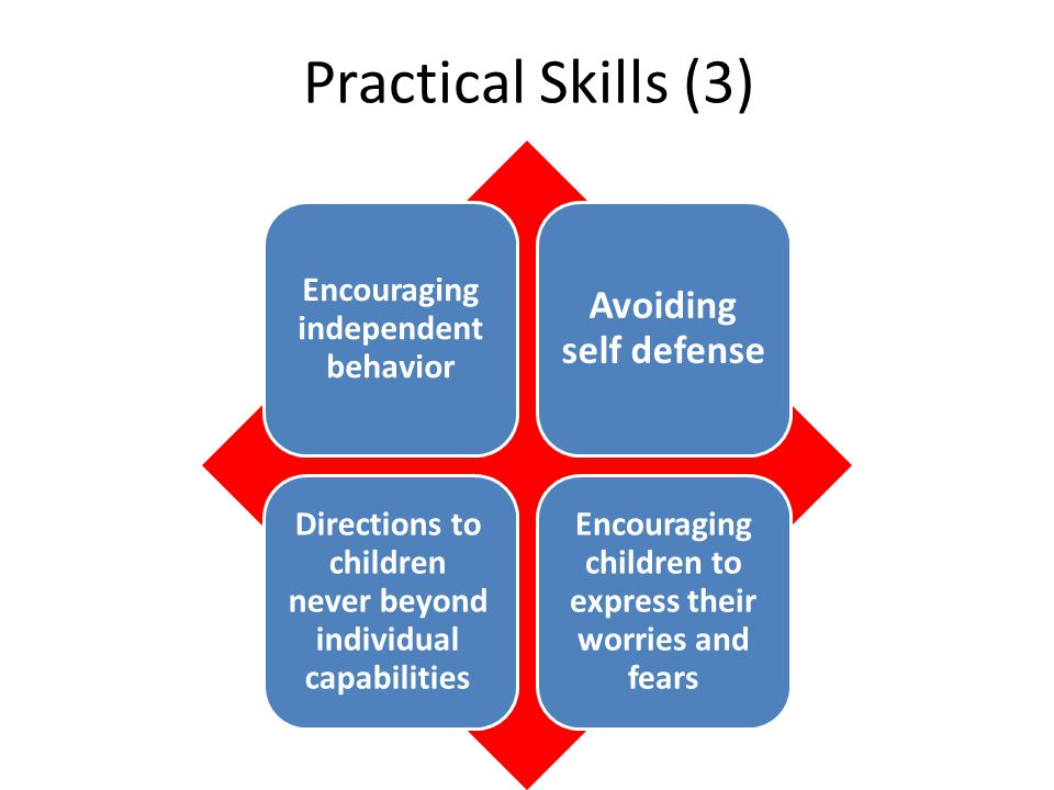 Practical Skills (3) Encouraging independent behavior Avoiding self defense Directions to children never beyond individual capabilities Encouraging children to express their worries and fears