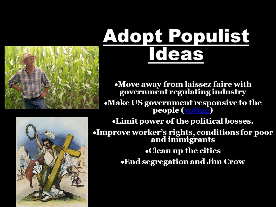 Adopt Populist Ideas  Move away from laissez faire with government regulating industry  Make US government responsive to the people (voting)  Limit power of the political bosses.