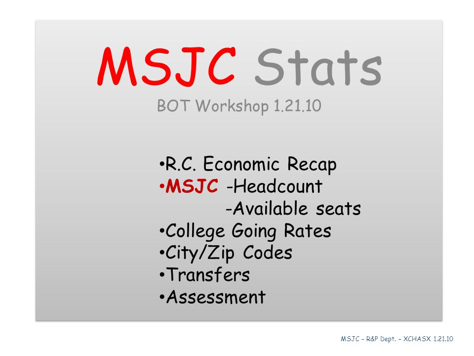 MSJC Stats BOT Workshop 1.21.10 R.C. Economic Recap MSJC -Headcount -Available seats College Going Rates City/Zip Codes Transfers Assessment MSJC Stat