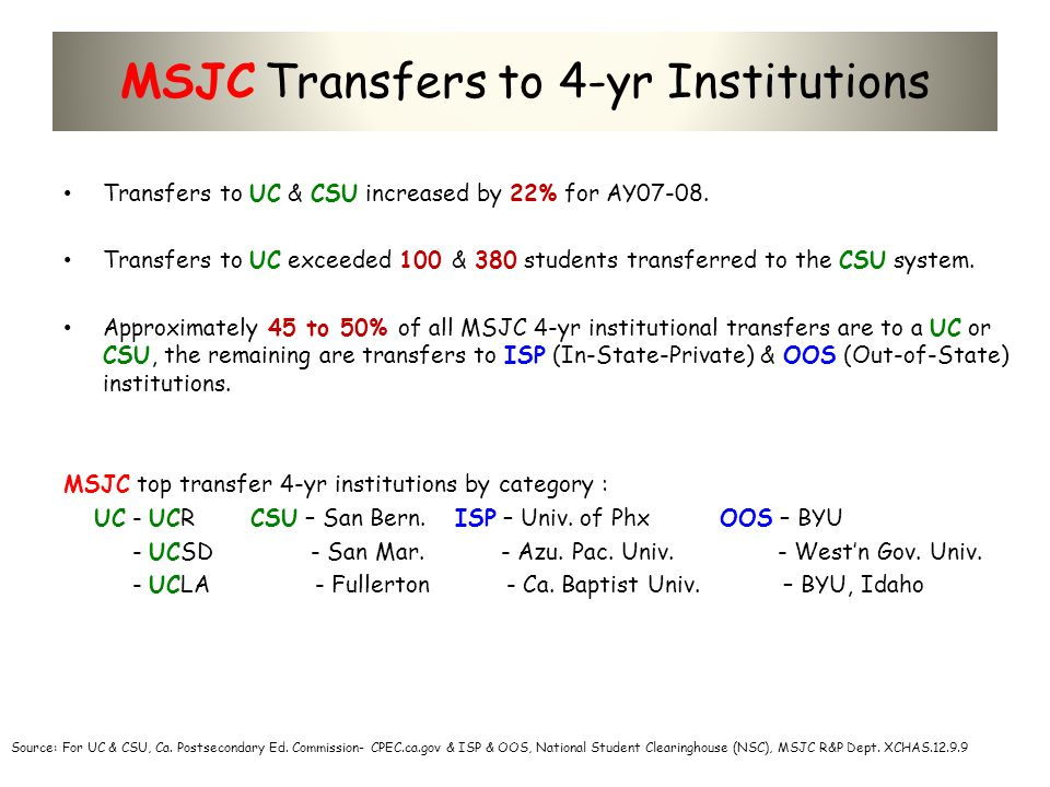 MSJC Transfers to 4-yr Institutions Transfers to UC & CSU increased by 22% for AY07-08. Transfers to UC exceeded 100 & 380 students transferred to the