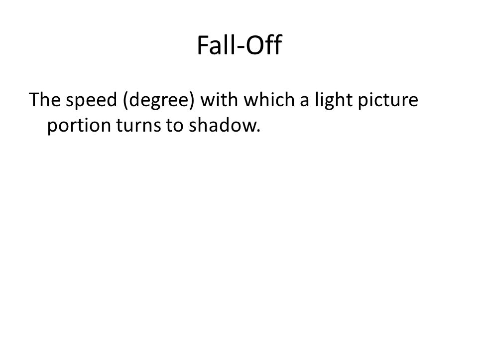 Fall-Off The speed (degree) with which a light picture portion turns to shadow.