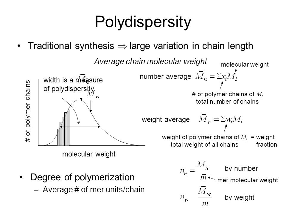 Polydispersity Traditional synthesis  large variation in chain length number average # of polymer chains molecular weight # of polymer chains of M i total number of chains molecular weight weight average weight of polymer chains of M i total weight of all chains width is a measure of polydispersity = weight fraction Degree of polymerization –Average # of mer units/chain Average chain molecular weight by number by weight mer molecular weight